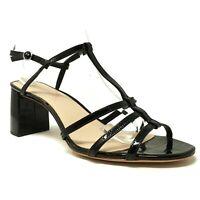 Loeffler Randall Womens Elena-sec Heeled Sandals Size 11 B Black Patent Leather