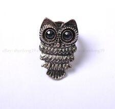 Free Ship Zinc Alloy Black Owl Ring