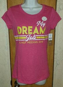 NWT Wound Up Pink Speckled w/ White & Yellow Dream Graphic T-Shirt Sz S/M