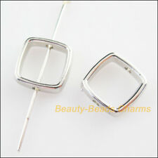 50Pcs Dull Silver Plated Acrylic Square Spacer Beads Frame Charms 13mm