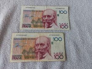 Geldscheine Belgien *** 2 x 100 Belgische Francs *** gebraucht ***