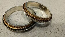 indian style costume jewelry - 02 gold bracelets with white/red/green stones
