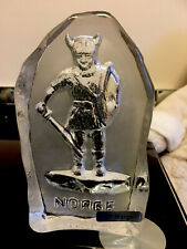 More details for pressed crystal glass viking warrior paperweight labelled bf norge eda krystall