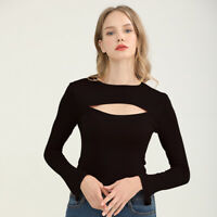 Women Ripped Cut Out T-Shirt Basic Tee Round Neck Long Sleeve Blouse Casual Tops
