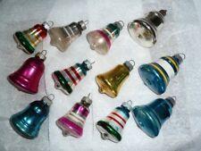 "12 Vtg Shiny Brite Glass Solid Stripe Bell X-Mas Tree Ornaments Boxed 2.5"" Tall"