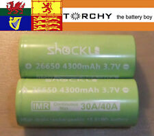 2x 40A ShockLi 4300mAh Flat Top 26650 3.7v Li-ion batteries for Geekvape Aegis