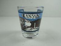VINTAGE STATE OF KANSAS WHEAT PLAINS SOUVENIR SHOT-GLASS RETRO DECOR BAR-WARE