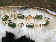 ANTIQUE NEPHRITE GREEN JADE 10K YELLOW GOLD BRACELET 10.8g #1700