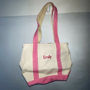 vtg usa made LL BEAN boat and tote canvas bag pink trim faded distressed Emily