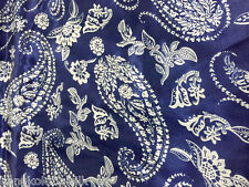 "Paisley Blue White Faux Silk Satin 60""W Fabric Dress Tablecloth Skirt Scarfs"