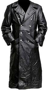 German Classic Officer Genuine Leather Black Trench Coat | All Sizes