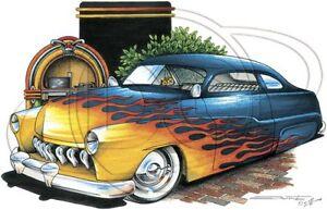Classic Car T Shirt (X-LARGE) '49 Ford Mercury Lead Sled (Brent Gill # POS-346)