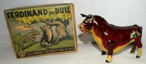 "HIGH GRADE BOXED SET: DISNEY 1938 ""FERDINAND THE BULL"" TIN WIND-UP TOY BY MARX"