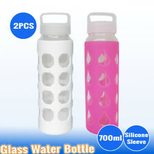 2X 700ml Glass Water Hydration Bottle Sport Outdoor Gym Training Drink BPA Free