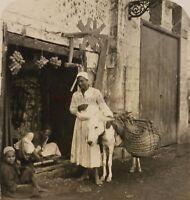 EGYPTE Le Caire Rue avec marchands Photo Stereo P8L2n Vintage Argentique