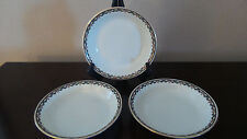 Fraureuth Germany Fine China Coupe Soup Bowls x3 Blue Garland & Rosebud