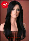 Fashion New Women Long Black Straight Cosplay Full Heat Resistant Wig Wigs