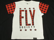 $44 NWT Men Fly Society T-Shirt Plaid Graphic Print Tee White Urban 2XL XXL N139