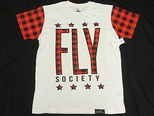 $44 NWT Men Fly Society T-Shirt Plaid Graphic Print Tee White Urban 2XL XXL N139