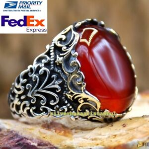 Original Carnelian Agate Aqeeq Stone Exclusive 925 Sterling Silver Mens Ring