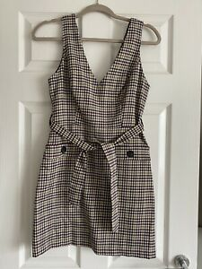 Miss Selfridge Check Tartan Pattern Pinafore Dress Size 8