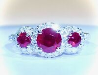 Ruby and Diamond Ring Trilogy Cluster Engagement in Platinum