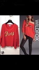 Wildfox XSmall Foxy red Gold sweatshirt sweater top comfy drape off shoulder