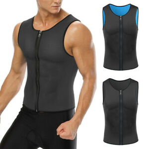 Mens Neoprene Fit Sweater Vest Sport Gym Zip T-Shirt Workout Training Tank Tops