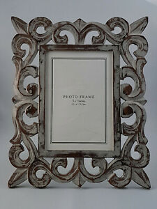 """Grey Distress ed Hand Crafted, Painted Wooden Photo Frame, Photo size 5""""x7"""""""