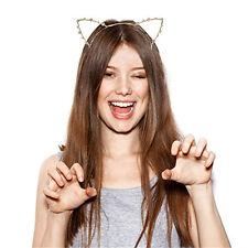 Women's Cat Ears Headband Hairband Cosplay Crystal Alloy Hair Hoop Accessories