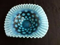Fenton opalescent coin dot ruffled edge bride's bouquet basket dish.
