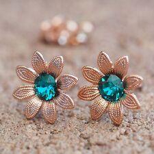 NEU Rosegold OHRSTECKER Blüten SWAROVSKI STEINE blue zircon/blau-grün OHRRINGE