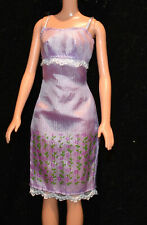 Vintage Barbie Fashion Tagged Purple Dress with Flowers Lovely