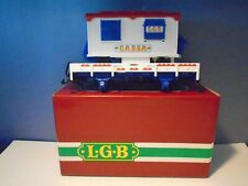 LGB G SCALE 4037 FLAT CAR WITH CASSA TICKET TRAILER & ORIGINAL BOX