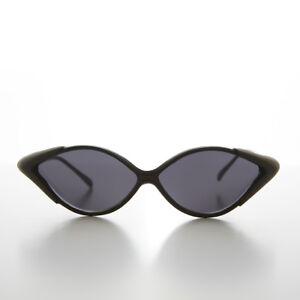 90s Diamond Shaped Vintage Sunglass with Side Shields Black - Edge