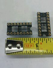 Lot of 2 IC Gold 16 Pin Machine Pin IC Socket Carrier