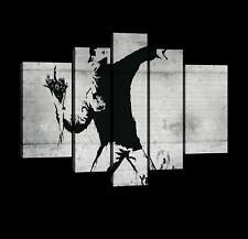 CANVAS Leinwand bilder XXL Hooligan mit Blumen Bansky Bild Wandbild 15F0048640