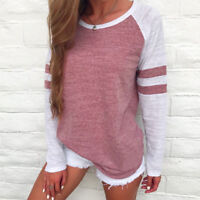 NEW Fashion Women Ladies Long Sleeve Splice Blouse Tops Loose Pullover T Shirt