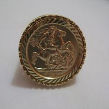 9ct Gold Full Sovereign Coin Medallion Ring Size R