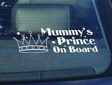 Static Cling Window Car Sign/Decal Mummys Prince on Board 100 x 200mm Crown