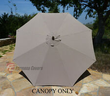 9ft Patio Outdoor Yard Umbrella Replacement Canopy Cover Top 8 Ribs Taupe