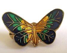 broche bijou vintage couleur or papillon émail de belle couleur  résine 263
