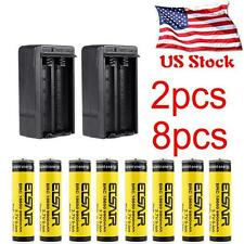 8PCS 18650 Battery 9900mah 3.7V Rechargeable For Led Torch +2X Smart Charger MT