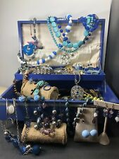 Vintage Estate Jewelry And Jewelry Box Cobalt Blue. Lot 803 Pre-Owned Un-Tested