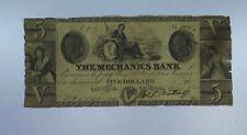 1850 $5 The Mechanics Bank Note. Augusta Georgia. CU146/ABL