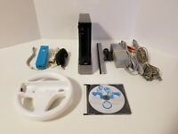 Nintendo Wii Console Black RVL-001 Complete W/ Remote, Nunchuk & Mario Kart Game