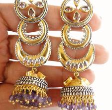 Purple Amethyst Two-Tone Gold Vermeil Chandelier 925 Sterling Silver Earrings