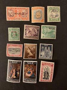 L6/110 Brirish Niue Stamps 12 MNH/HOG Very Nice Coll