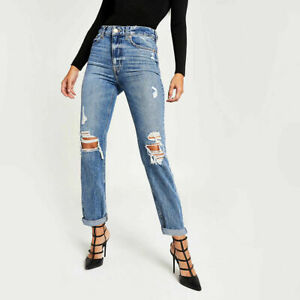 Ex River Island High Waist Mom Fit Womens Ladies Ripped Jeans Size 6 8 10 12 14