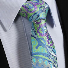 Mens Tie Sale - Turquoise Green Blue Purple & Grey Silver - Satin Paisley Floral